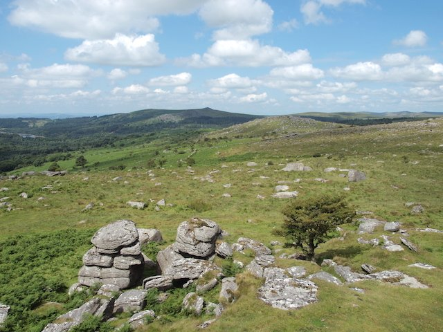 Sheeps Tor and Down Tor from Combshead Tor.JPG
