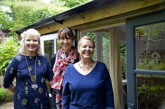 Kathy Charlotte Bev outside the garden studio - small.jpg