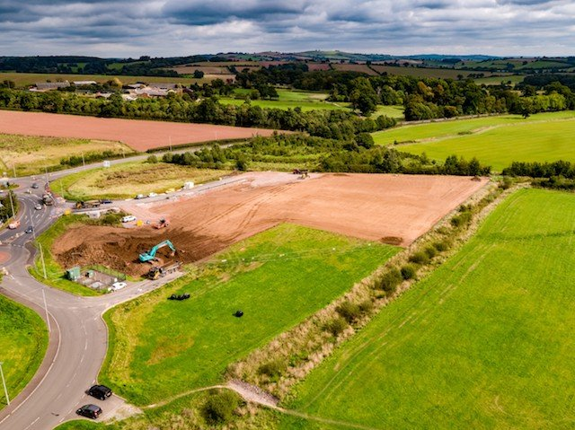 Ariel image of site taken at the start of the works