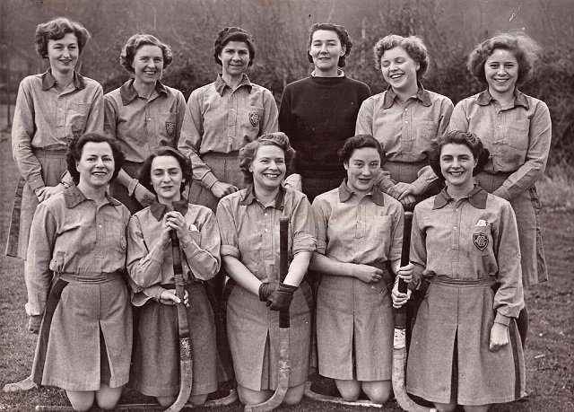 1952/1953 Okehampton Columbines Hockey Club team: Back row, Betty Comyn, Ducal Steuart, Marjorie Measures, Muriel Cook, Elizabeth Kearsey and Beryl Guscott. Front row, Vera Northcott, Vivienne Heard, Cathy Self, Diana Furse and Janie Mortimore.