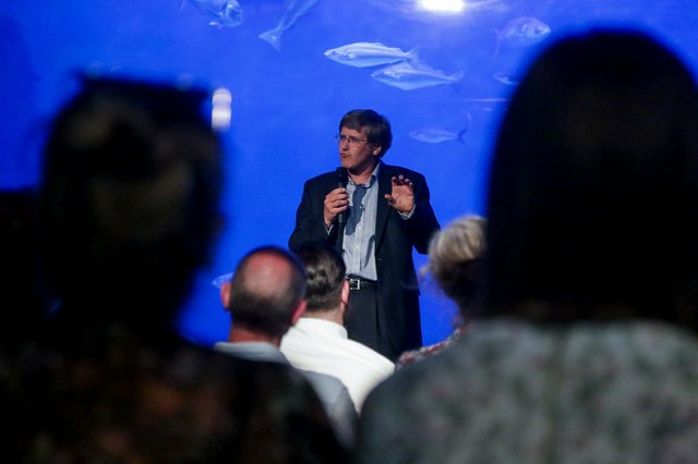 Roger Maslin (NMA CEO) at Sound Fish guide launch at the National Marine Aquarium