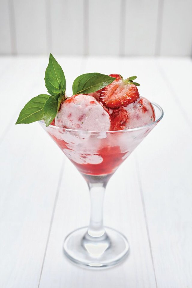 Strawberry and basil yoghurt ice-cream