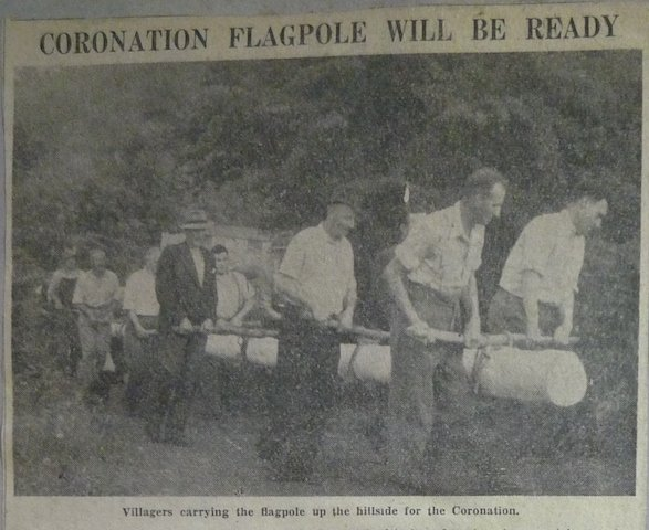 Sticklepath Coronation Flagpole erection in 1953