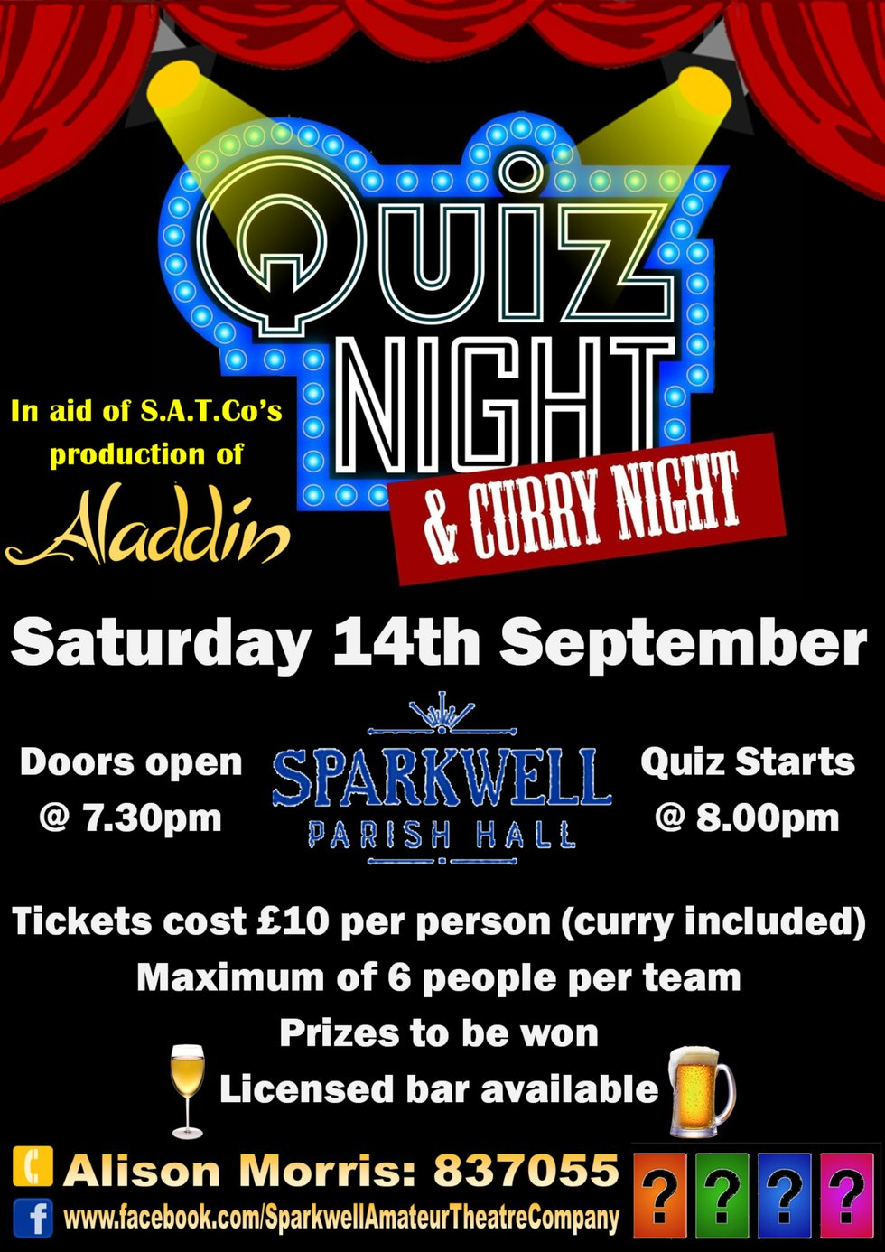 Sparkwell Quiz and Curry Night poster
