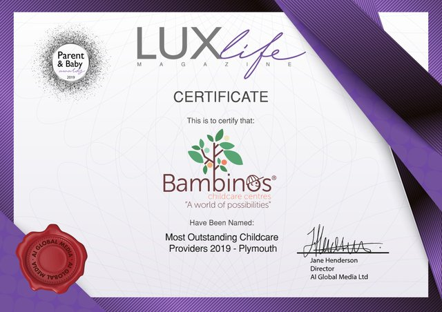 Bambinos LUX Life certificate