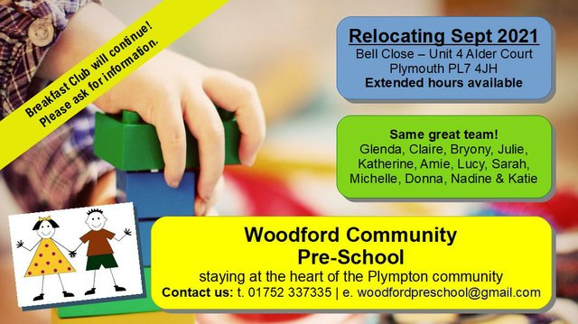 Woodford Community Pre-School is relocating from September 2021