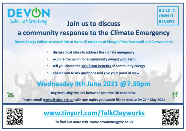 Devon Energy Collective CIC meeting, 9 June at 7.30pm