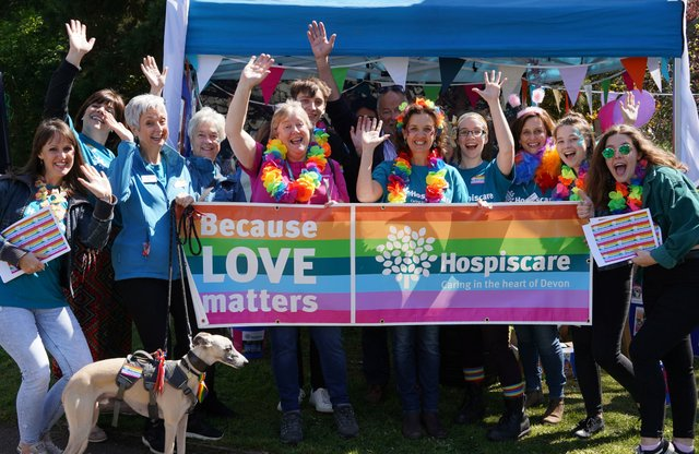 Hospiscare at the last Exeter Pride in 2019 before the COVID-19 pandemic