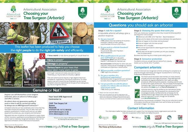 Arboricultural Association - choosing your tree surgeon