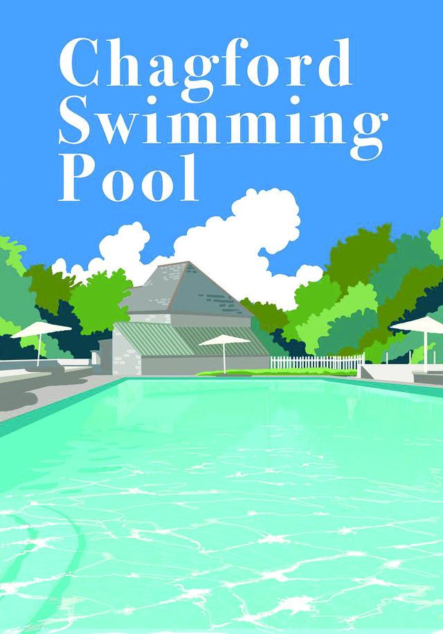 Chagford Pool 30s artwork by Steve Dooley